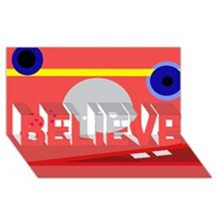 Cute face BELIEVE 3D Greeting Card (8x4)