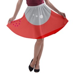 Cute face A-line Skater Skirt