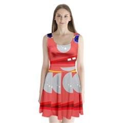 Cute face Split Back Mini Dress