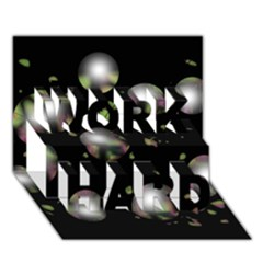 Silver balls WORK HARD 3D Greeting Card (7x5)