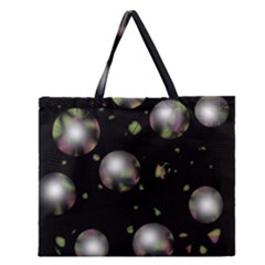 Silver Balls Zipper Large Tote Bag