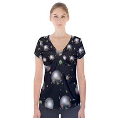 Silver Balls Short Sleeve Front Detail Top
