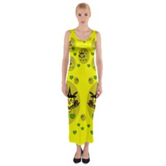Wizard Mice In Fairy Dust Popart Fitted Maxi Dress