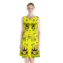 Wizard Mice In Fairy Dust Popart Sleeveless Chiffon Waist Tie Dress