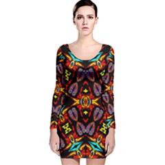 Heads Up Talk Long Sleeve Velvet Bodycon Dress