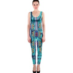 Lace And Fantasy Florals Shimmering Onepiece Catsuit