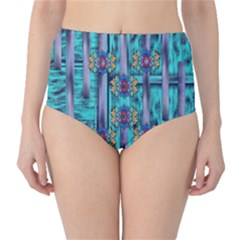 Lace And Fantasy Florals Shimmering High Waist Bikini Bottoms