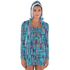 Lace And Fantasy Florals Shimmering Women s Long Sleeve Hooded T Shirt