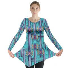 Lace And Fantasy Florals Shimmering Long Sleeve Tunic