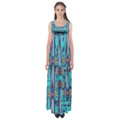 Lace And Fantasy Florals Shimmering Empire Waist Maxi Dress
