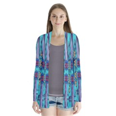 Lace And Fantasy Florals Shimmering Drape Collar Cardigan