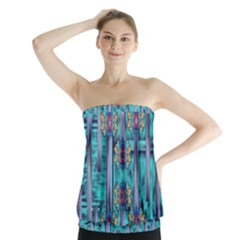 Lace And Fantasy Florals Shimmering Strapless Top