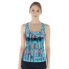Lace And Fantasy Florals Shimmering Racer Back Sports Top