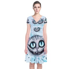 Cheshire Watercolor  Short Sleeve Front Wrap Dress