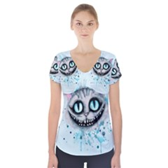 Cheshire Watercolor  Short Sleeve Front Detail Top