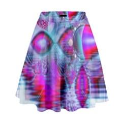 Crystal Northern Lights Palace, Abstract Ice  High Waist Skirt