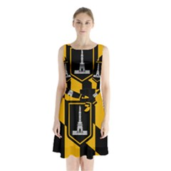 Flag Of Baltimore  Sleeveless Chiffon Waist Tie Dress