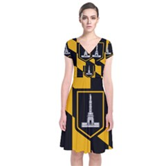 Flag Of Baltimore  Short Sleeve Front Wrap Dress