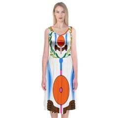 National Emblem Of Djibouti  Midi Sleeveless Dress