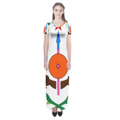 National Emblem Of Djibouti  Short Sleeve Maxi Dress