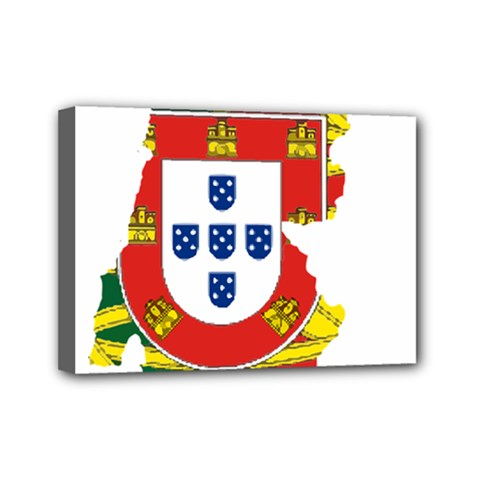Flag Map of Portugal Mini Canvas 7  x 5
