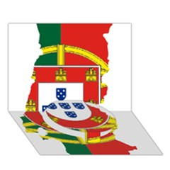 Flag Map Of Portugal Circle Bottom 3d Greeting Card (7x5)