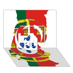 Flag Map of Portugal Peace Sign 3D Greeting Card (7x5)