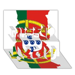 Flag Map of Portugal Miss You 3D Greeting Card (7x5)