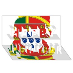 Flag Map of Portugal Happy New Year 3D Greeting Card (8x4)
