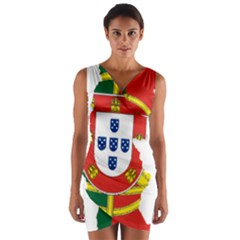 Flag Map Of Portugal Wrap Front Bodycon Dress