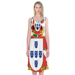 Flag Map Of Portugal Midi Sleeveless Dress
