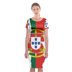 Flag Map Of Portugal Classic Short Sleeve Midi Dress