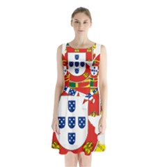 Flag Map Of Portugal Sleeveless Chiffon Waist Tie Dress