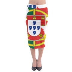 Flag Map Of Portugal Midi Pencil Skirt