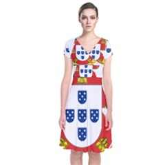 Flag Map Of Portugal Short Sleeve Front Wrap Dress
