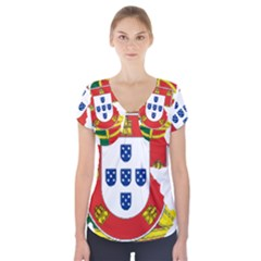 Flag Map Of Portugal Short Sleeve Front Detail Top