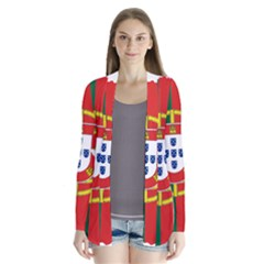 Flag Map of Portugal Drape Collar Cardigan