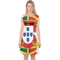 Flag Map Of Portugal Capsleeve Midi Dress