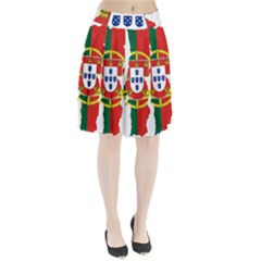 Flag Map Of Portugal Pleated Skirt