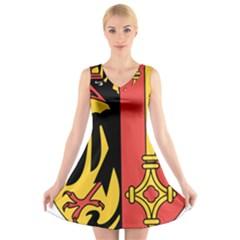 Coat Of Arms Of Geneva Canton  V Neck Sleeveless Skater Dress