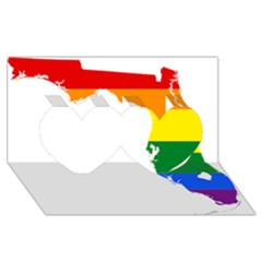 LGBT Flag Map of Florida Twin Hearts 3D Greeting Card (8x4)