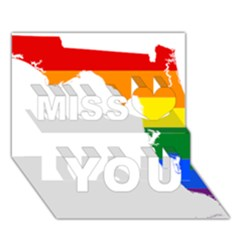LGBT Flag Map of Florida Miss You 3D Greeting Card (7x5)