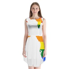 Lgbt Flag Map Of Florida Sleeveless Chiffon Dress