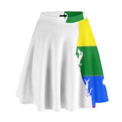Lgbt Flag Map Of Florida High Waist Skirt