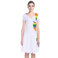 Lgbt Flag Map Of Florida Short Sleeve Front Wrap Dress