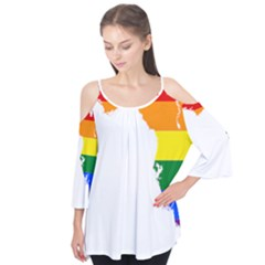 Lgbt Flag Map Of Florida Flutter Tees