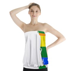 Lgbt Flag Map Of Florida Strapless Top