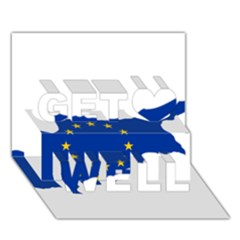 European Flag Map of Cyprus  Get Well 3D Greeting Card (7x5)