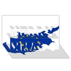 European Flag Map of Cyprus  Merry Xmas 3D Greeting Card (8x4)
