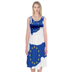 European Flag Map Of Cyprus  Midi Sleeveless Dress